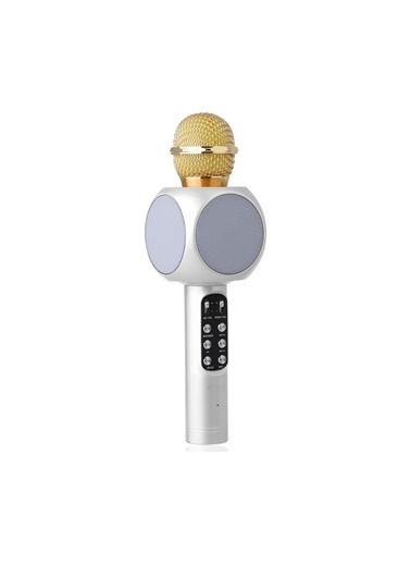 Platoon PL-2466 Bluethoot Fm Led Işıklı Karaoke Mikrofon Beyaz
